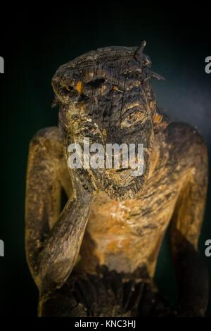 Cristo preocupado, escultura de madera, siglo XIX, museo de los iconos, castillo Real, Sanok, Podkarpackie Voivodeship, - Stock Photo