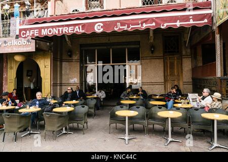 cafe Montreal,Marrakech, Morocco, Northern Africa - Stock Photo