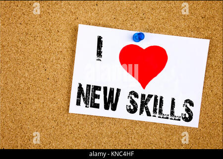 Hand writing text caption inspiration showing I Love New Skills concept meaning Education Knowledge Development - Stock Photo