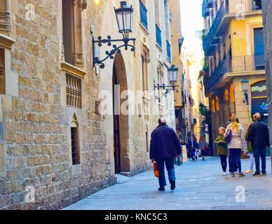 General Archive of the Crown of Aragon building until 1993. Palau del Lloctinent building, Gothic quarter, Barcelona, - Stock Photo