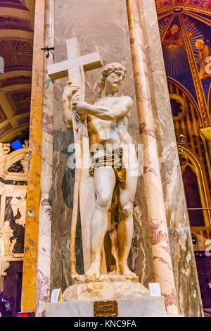 Michelangelo Christ Redeemer Statue Santa Maria Sopra Minerva Basilica Church Rome Italy. Built in the 1200s on - Stock Photo