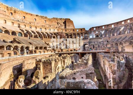 Colosseum Rome Italy. Built by Emperors Vespasian and Titus in 80 AD with sand and concrete largest amphitheater - Stock Photo