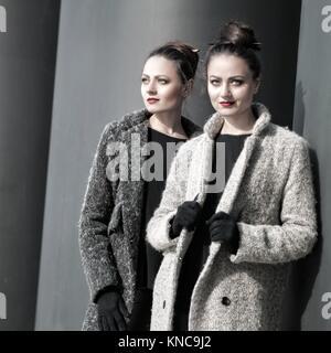 Twins. Urban female portrait, beauty and fashion style. - Stock Photo