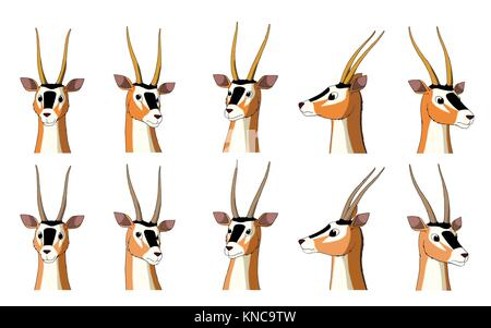 Set of African Antelope Gazelle images. Digital painting full color cartoon style illustration isolated on white - Stock Photo
