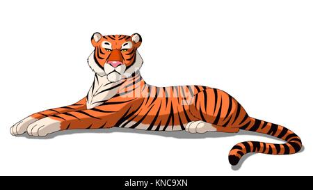 Digital painting of the Bengal tiger isolated on white background. - Stock Photo