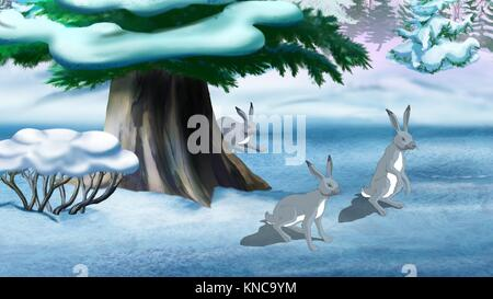 Gray rabbits in the winter forest. Digital painting cartoon style full color illustration. - Stock Photo