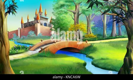 Landscape with Fairy tale castle in a forest and small bridge over the blue river. Digital painting background, - Stock Photo