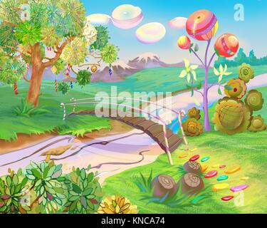 Digital Painting, Illustration of a Exotic Dreamland. Fantastic Cartoon Style Character, Fairy Tale Story Background, - Stock Photo
