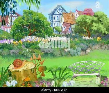 Digital Painting, Illustration of a Colorful Fairy Tale Park in the City. Cartoon Style Artwork Scene, Story Background, - Stock Photo