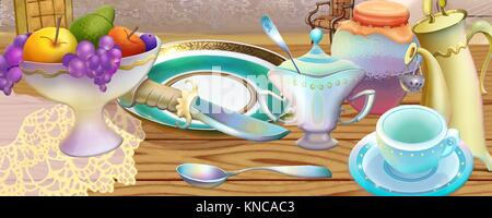 Fairy Tale Still Life of Tea Set and Vase of Fruits. Digital Painting Background, Illustration in cartoon style - Stock Photo