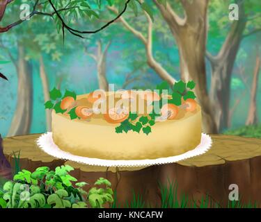 Mushroom Pie on a Stump in a Forest. Digital Painting Background, Illustration in cartoon style character. - Stock Photo