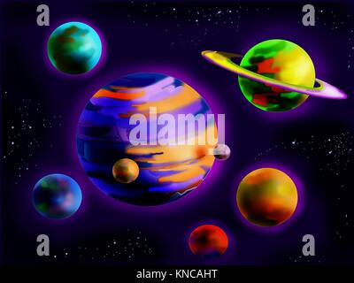Digital Painting, Illustration of a Fantastic Planets in Space. Cartoon Style Character, Fairy Tale Story Background. - Stock Photo
