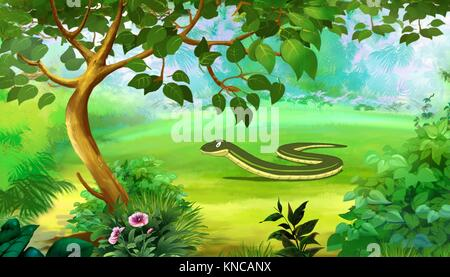 Slow Worm in a Forest. Digital painting full color cartoon style illustration. - Stock Photo