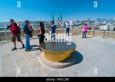 Flame Towers, Maiden Tower, Word Heritage Site, Unesco, Old City, Baku City, Azerbaijan, Middle East. - Stock Photo
