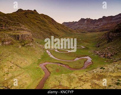 Aragon Subordan river, Aguas Tuertas, Guarrinza, Municipality of Anso, Valley of Hecho, western valleys, Pyrenean - Stock Photo