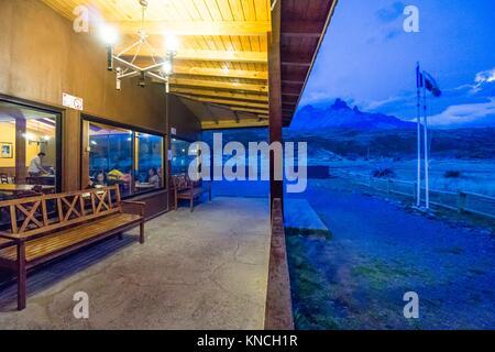cuernos del Paine, refugio Paine Grande, trekking W, Parque nacional Torres del Paine,Sistema Nacional de Áreas - Stock Photo