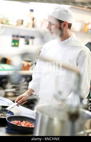 Chef, Cook in cooking school, Cuisine School, Donostia, San Sebastian, Gipuzkoa, Basque Country, Spain, Europe - Stock Photo