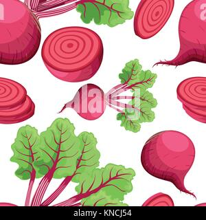 Seamless pattern beets with a bundle of leaves useful vegetables flat style fresh food vector illustration on white - Stock Photo