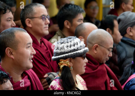 Buddhist monks at His Holiness Dalai Lama Main Temple in McLeod Ganj, India - Stock Photo