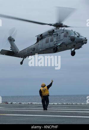 ATLANTIC OCEAN (Dec. 6, 2017) --Aviation Boatswain's Mate (Handling) 1st Class Dylan Tiefert, from Grand Island, - Stock Photo