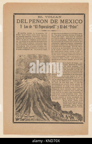 Broadside relating to a news story about the destruction following a volcanic eruption, volcano erupting while animals - Stock Photo