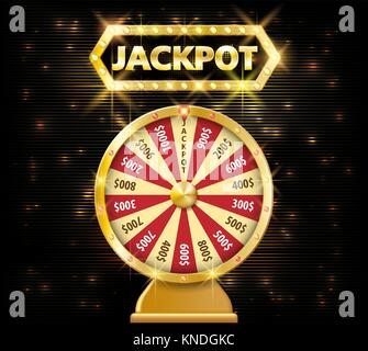 Gold realistic fortune wheel 3d object isolated on dark background with jackpot text. lucky fortune wheel e vector - Stock Photo