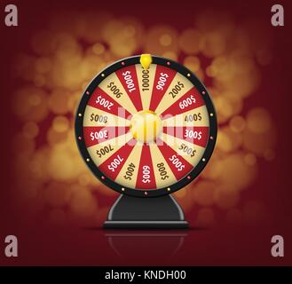 Black Fortune wheel with on bokeh background for online casino, poker, roulette, slot machines, card games. realistic - Stock Photo