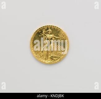 United States Twenty-dollar Gold Piece. Maker: Augustus Saint-Gaudens (American, Dublin 1848-1907 Cornish, New Hampshire); - Stock Photo