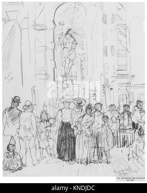 Street Shrine, New York. Artist: Jerome Myers (American, Petersburg, Virginia 1867-1940 New York); Date: 1906; Medium: - Stock Photo
