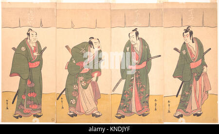 Ichikawa Danjuro V in the Scene Five Chivalrous Commoners from the Play A Soga Drama on the First Festival Day. - Stock Photo