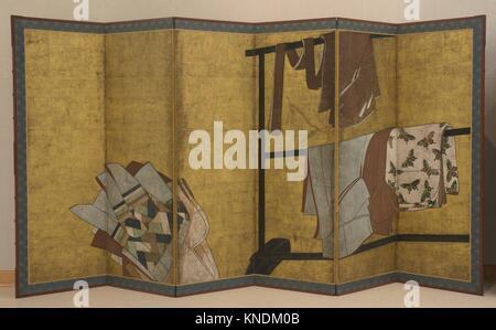 Whose Sleeves? (Tagasode). Period: Edo period (1615-1868); Date: 17th century; Culture: Japan; Medium: Six-panel - Stock Photo