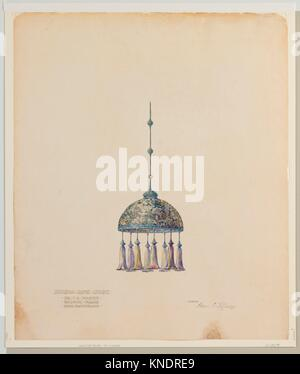 Drawing for hanging dome shade. Artist: Louis Comfort Tiffany (American, New York 1848-1933 New York); Maker: Tiffany - Stock Photo