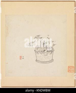 明/清 陳洪綬 橅古åœ- 冊/Miscellaneous Studies. Artist: Chen Hongshou (Chinese, 1599-1652); Period: Ming - Stock Photo