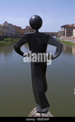 modern art sculpture (uomo comune/ common man) by Clet Abraham at Ponte alle Grazie bridge, Florence, Italy - Stock Photo