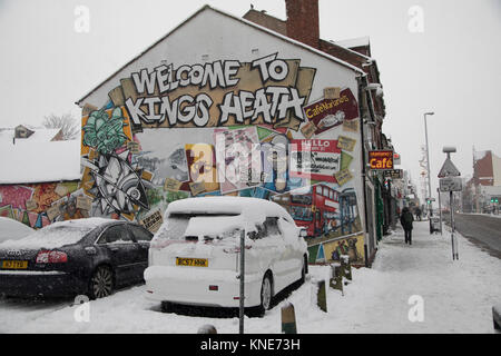People out on Kings Heath High Street during heavy snow fall on Sunday 10th December 2017 in Birmingham, United - Stock Photo