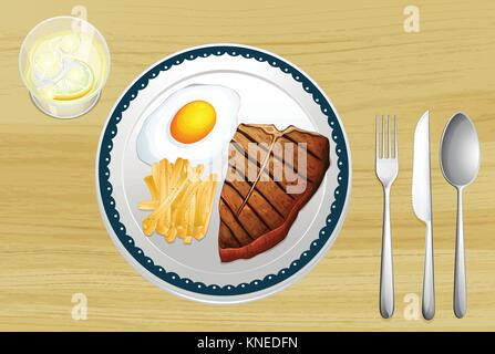 illustration of a meat with omlet and fries in a dish on a wooden background - Stock Photo