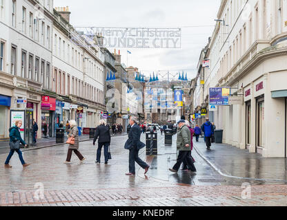 Dundee,Scotland,UK-Dercember 05,2017: The city centre of Dundee with people going about their christmas shopping. - Stock Photo