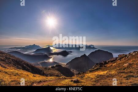Lofoten Islands seen from Mt. Himmeltinden, Utakleiv, Nordland, Norway - Stock Photo