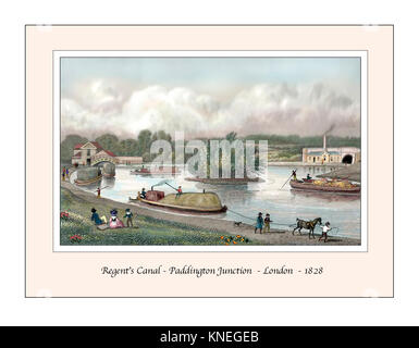 Regent's Canal Paddington Junction Original Design based on a 19th century Engraving - Stock Photo