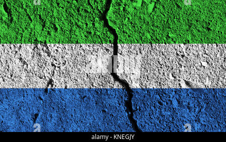 Sierra Leone flag with crack through the middle. Country divided concept - Stock Photo