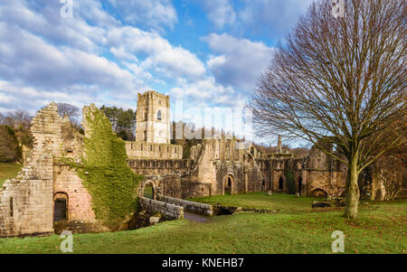 The ruins of Fountains Abbey on a fine autumn morning as viewed from across the river Skell, Ripon, Yorkshire, UK. - Stock Photo