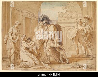Hector taking leave of Andromache: the Fright of Astyanax. Artist: Benjamin West (American, Swarthmore, Pennsylvania - Stock Photo