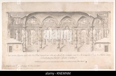 Longitudinal Section of a Ballroom Decorated for the Marriage of the King of Naples to the Archduchess of Austria. - Stock Photo