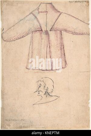A costume and a sketch of a man in profile. Artist: Anonymous, German, 16th century (?); Date: ca. 1500; Dimensions: - Stock Photo