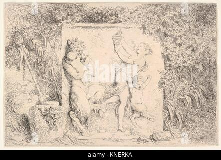 A bas-relief depicting a satyr at left holding two infants, another child satyr to right, dancing to the sound of - Stock Photo