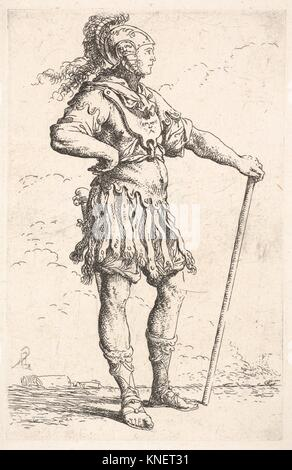A warrior facing right wearing a plumed helmet and holding a staff, from the series ´Figurine´. Artist: Salvator - Stock Photo