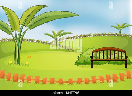 Illustration of an empty park - Stock Photo