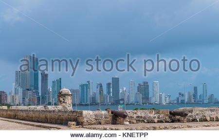 The skyline of Boca Grande in Cartagena, Bolivar, Colombia, South America - Stock Photo