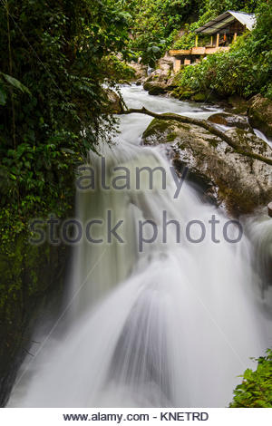 Waterfall at the rainforest in Mindo, close to the equator, Mindo, Pichincha, Ecuador, South America - Stock Photo