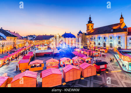 Sibiu, Romania. Panoramic view of the Christmas Market. Transylvania, Romania. - Stock Photo